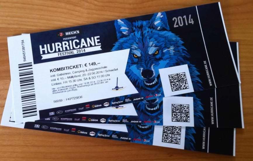 Karten für das Hurricane Festival 2014